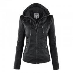 Veste en cuir chaud avec capuche amovible