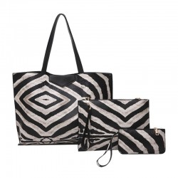 Skórzana torba z wzorem zebry - 3 szt komplet