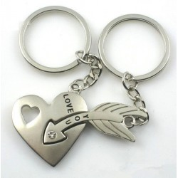Heart & arrow - silver keychain with crystal