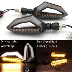 12 LED - luces de intermitentes de motocicleta de ajuste universal para Harley Cruiser Honda Kawasaki BMW Yamaha 2 piezas