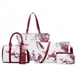 Skórzane torebki z kwiatowym nadrukiem - komplet