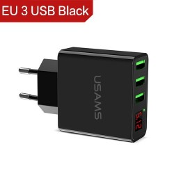 3.4A smart fast 3 port USB charger with LED display - EU plug