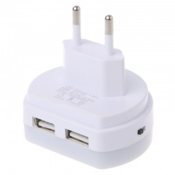 LED dual USB charger plug with sensor light
