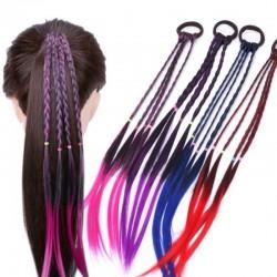 Cinta elástica para el cabello con cabello artificial trenzado