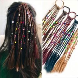 Perruque pour enfants à la main - bande de cheveux élastique avec perles