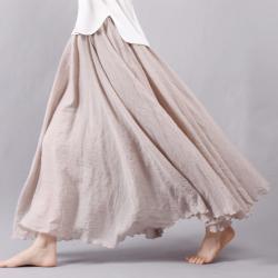 Linen cotton long skirt with elastic waist