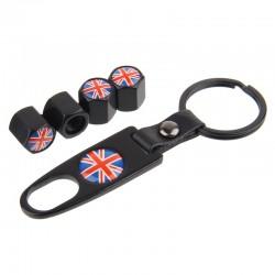 HAUSNN noirargent angleterre UK drapeau voiture pneu Valve bouchons pneu Air poussire tige couvre