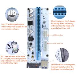 3 in 1 Molex 4Pin SATA 6PIN PCI Express PCIE PCI-E Riser Card 008s 1x to 16x USB 3.0 For Mining Bitcoin Miner