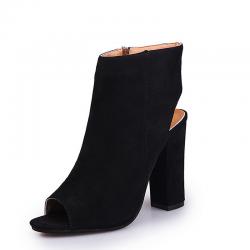 Casual stijlvolle suede sandalen laarzen met open teen en hak