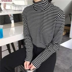 Mujeres cuello alto estilo coreano camiseta Harajuku Top de manga larga a rayas camiseta femenina ve
