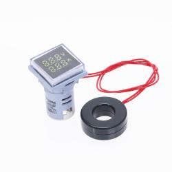 Nuevo medidor de voltaje del voltmetro de doble pantalla Digital LED cuadrado medidor de corriente