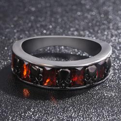 Kryształowy czerwony retro gotycki pierścionek z czaszkami - unisex