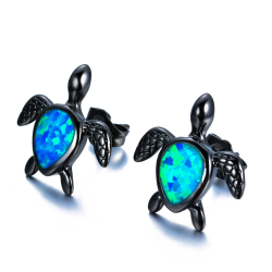 Boucles d'oreilles fashion tortues d'opale bleu
