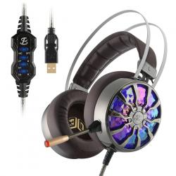 NiUB5 PC65 casque de jeu brillant basse stro 3D immersif USB 71 Surround son choc PS4 casque pour