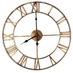 Żelazny dekoracyjny zegar ścienny z cyframi rzymskimi