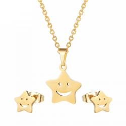 Złote & srebrne kolczyki & naszyjnik - komplet biżuterii