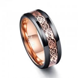 Stal wolframowa - różowo-złoty smok - pierścionek