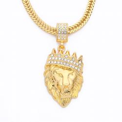 Luksusowy złoty wisiorek z głową lwa - naszyjnik