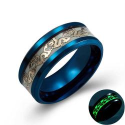 Świecący smok - pierścionek ze stali nierdzewnej