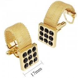 Luksusowe złote spinki do mankietów z kamieniem onyksu