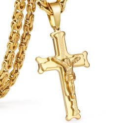 Złoty naszyjnik ze stali nierdzewnej z krzyżem