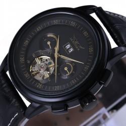 Fashion Luxe Merk JARAGAR Lederen Tourbillon Horloge Automatische Mannen Horloge Mannen Mechanische