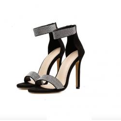 Kryształowe szpilki eleganckie sandały na wysokim obcasie