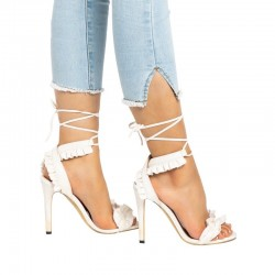 Cross lace up high heel sandals