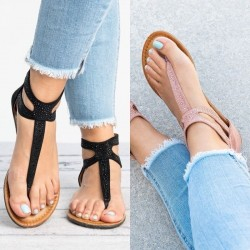 Summer sandals with crystals & zipper