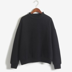 Winter solid round neck long sleeve velvet warm sweatshirts women