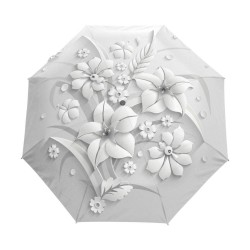 Fully automatic umbrella with 3D floral print - UV protection