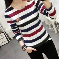 Women long sleeve colorful strip t-shirt