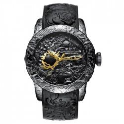 Luksusowy wodoodporny zegarek z rzeźbą smoka