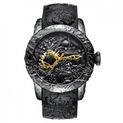 Montre impermèable de luxe avec dragon sculptè