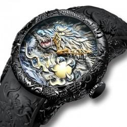 Luxury waterproof quartz watch with dragon sculpture