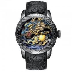 Luksusowy wodoodporny zegarek kwarcowy z rzeźbą smoka