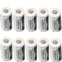 CR123A 16340 - 2200 mAh 3,7 V - batteria ricaricabile da 10 pezzi