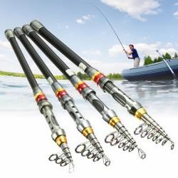 Canne à pêche télescopique en fibre de carbone - 1,8 m à 3,0 m