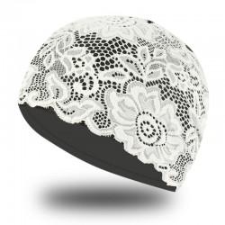 Bonnet de bain avec fleurs en dentelle - imperméable