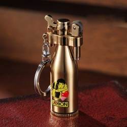 Retro mini metal lighter with keychain - refillable