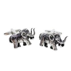 Gemelos de moda con mamut plateado
