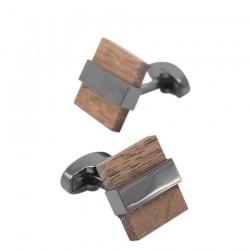 Modne drewniane kwadratowe spinki do mankietów