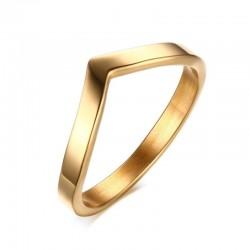 Elegant V shape gold ring