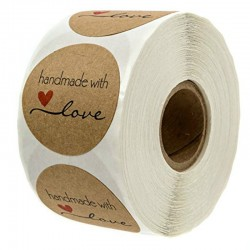 Handmade With Love - okrągłe naturalne naklejki typu kraft - 500 szt