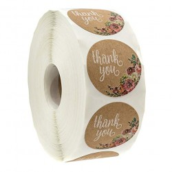 Thank You - naturalne okrągłe naklejki kraft 500 szt - 1000 szt