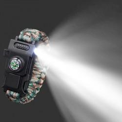 Multifunction survival bracelet with plastic buckle & Led light