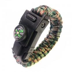 Wielofunkcyjna bransoletka survivalowa z plastikową klamrą & LED