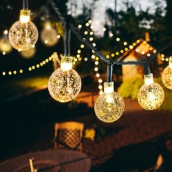 Kryształowe solarowe kulki LED - wodoodporne lampki choinkowe