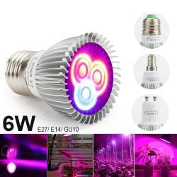 6W E27 E14 GU10 LED światło do hodowli roślin - hydroponiczne