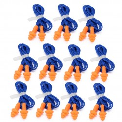 Waterproof silicone ear plugs - reusable - hearing protection - with string 10 pairs
